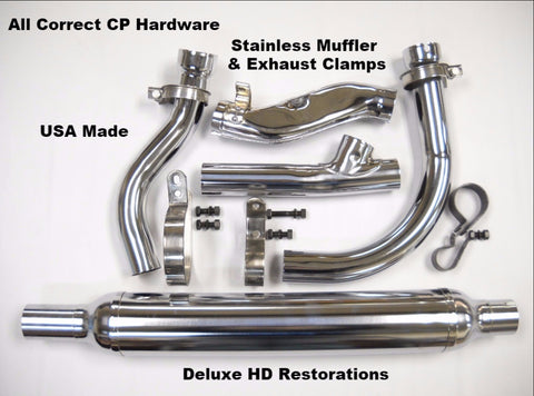 1950-1957 PANHEAD 2-1 COMPLETE CHROME EXHAUST SYSTEM SEAMLESS USA MADE