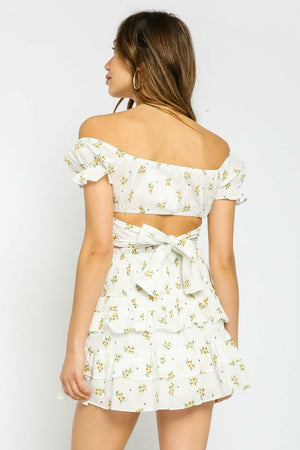 Olivaceous Ditsy Yellow Floral Off Shoulder Top