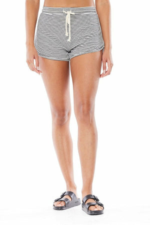 Saltwater Luxe Pull On Drawstring Short in Black Stripe