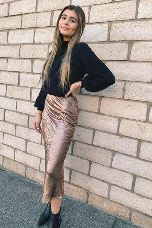 Lavender Brown Metallic Midi Skirt