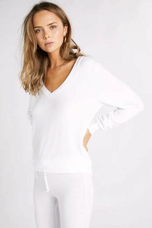 Wildfox Deep V Baggy Beach Jumper - Clean White