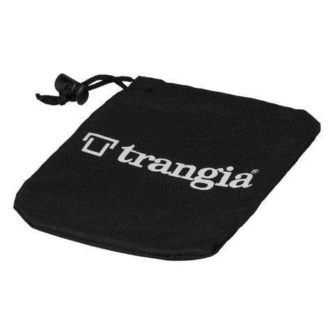 small black trangia bag with draw cord