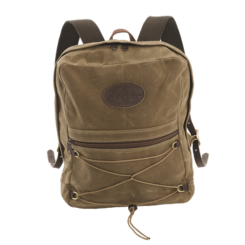 canvas daypack with exterior pocket