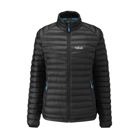 rab women's microlight goose down jacket in black