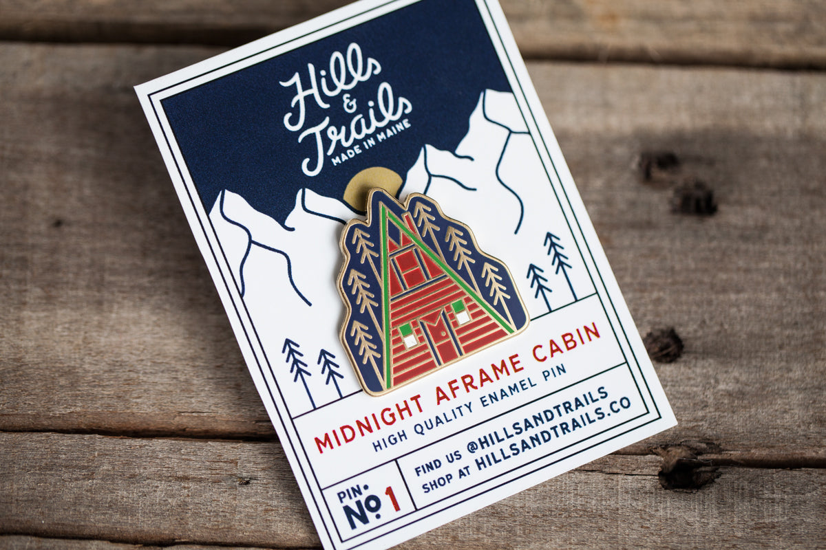 Midnight Aframe Cabin | Enamel Pin