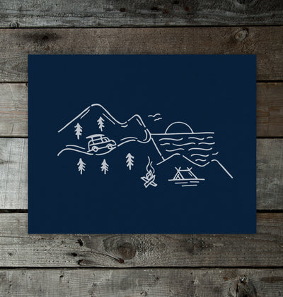 Highland Road 11x14 Print Midnight Blue