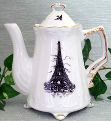 Victorian Footed Teapot with Eiffel Tower