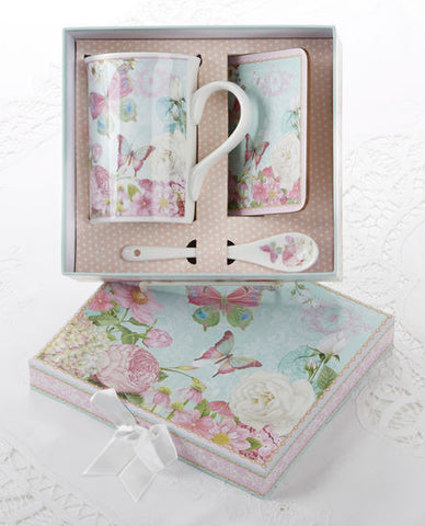 Butterfly Gift Boxed Porcelain Mug Set
