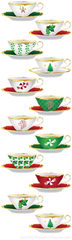 Christmas Holiday Tea Cups Teapots Bookmarks