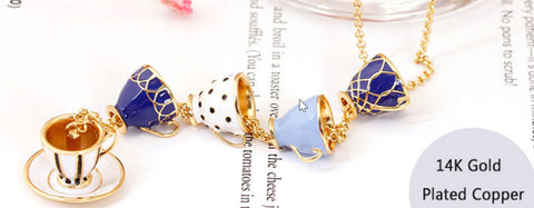 Enameled Tea Cup Necklace