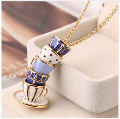 Blue Enameled Tea Cups Necklace