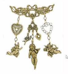 Brass Angel Heart and Tea Jewelry