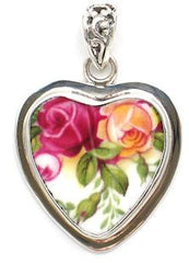 Broken China Sterling Heart Pendant