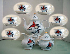 Christmas Cardinal Tea Set