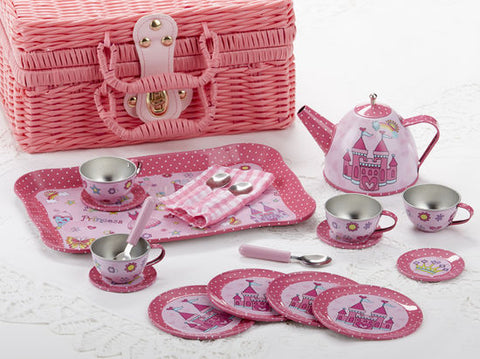Castle Girls' Tin Tea Set in Basket