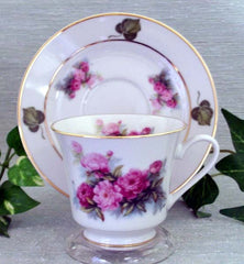 Peony Catherine Style Porcelain Tea Cup and Saucer