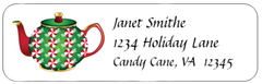 Christmas Holiday Teapots Address Labels