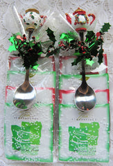 Christmas Teapot Handle Tea Spoons