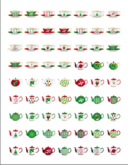 Christmas Holiday Tea Cups and Teapots Stickers