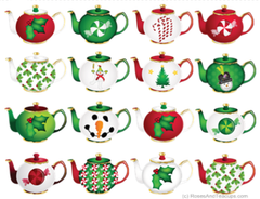 Christmas Holiday Teapots Note Cards