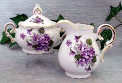 Wayside Pansy Porcelain Cream and Sugar Set
