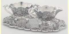 Floral Silver Cream and Sugar Set
