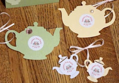 Teapot Favor Tags with Personalized Stickers