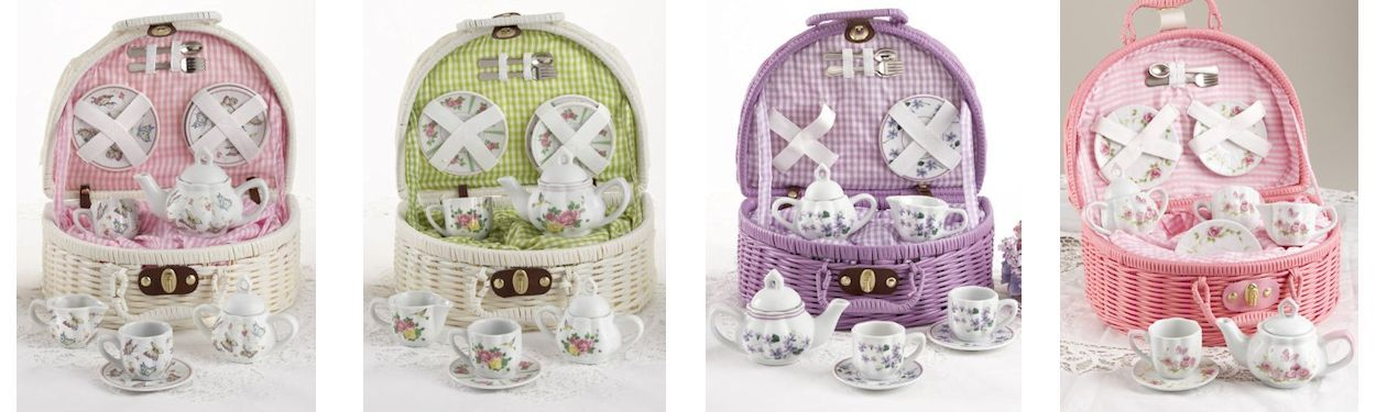 Girls Porcelain Tea Sets in Baskets