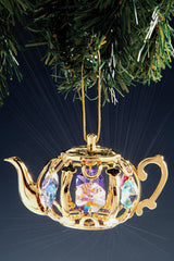 Teapot Ornament with Colored Crystals