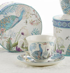 Peacock Gift Boxed Porcelain Tea Cup and Saucer