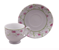 Pink Floral Bulk Discount Tea Cups and Saucers