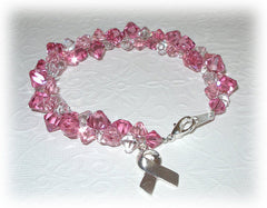 Pink Crystal Bracelet with Remembrance Ribbon