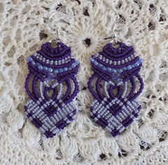 Purple Macrame Earrings