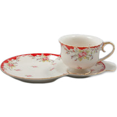 Vintage Red Tea and Toast Snack Set