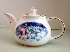 Round Teapot Snow People