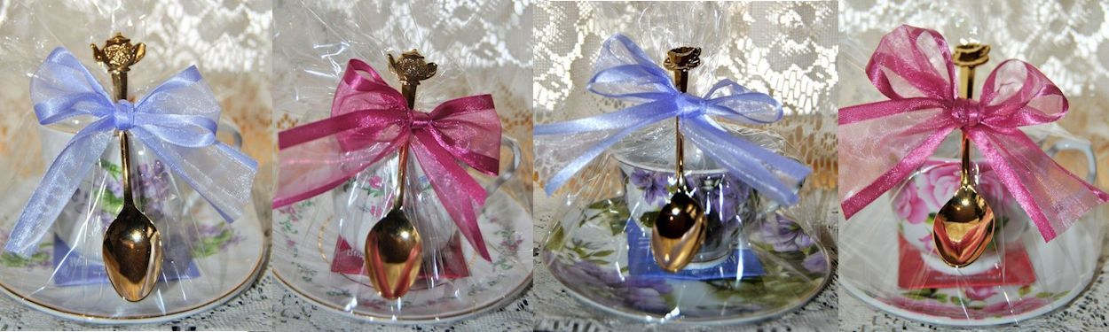 Gift Wrapped Tea Cups with Tea Spoons