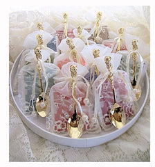 Tea Bag Favors with Gold Rose Spoons
