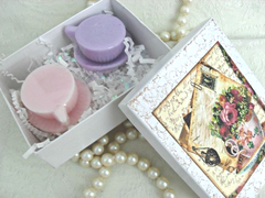 Pink and Lavender Tea Cup Soaps in Gift Box
