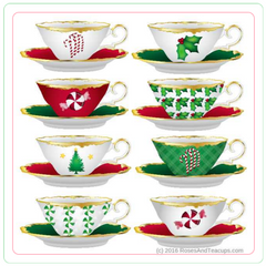 Holiday Tea Cup Teapot Coasters