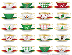Christmas Holiday Tea Cups Note Cards