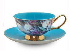 Turquoise Satin Shelley Tea Cup and Saucer