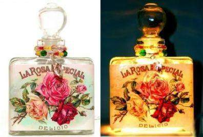 #1 La Rosa Especial Square Perfume Bottle Nightlight ( Night Light ) - Roses And Teacups