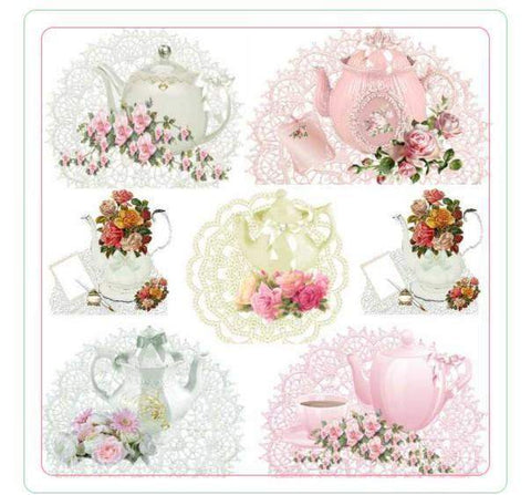 12 Tea Time Teapot Coasters - Roses And Teacups