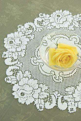 "15"" Vintage Rose Doily Ecru - Roses And Teacups"