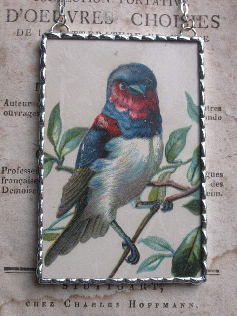 1880 Beautiful Bird Victorian Trade Card Ornament - One of a Kind! - Roses And Teacups