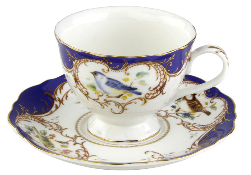 2 Finch Royal Blue Bird Porcelain Teacups and Saucers (2 Tea Cups and 2 Saucers) - Roses And Teacups