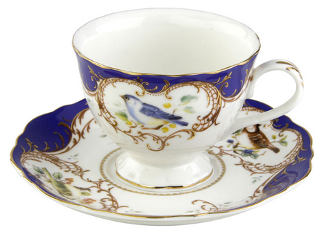 2 Finch Royal Blue Bird Porcelain Teacups and Saucers (2 Tea Cups and 2 Saucers)-Roses And Teacups
