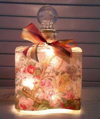 #2 Pink Rose Bouquet Perfume Bottle Nightlight ( Night Light ) - Roses And Teacups