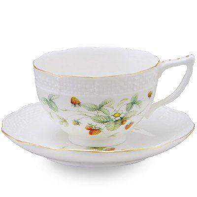 2 Strawberry Field Porcelain Tea Cups and Saucers (2 Teacups and 2 Saucers) - Roses And Teacups