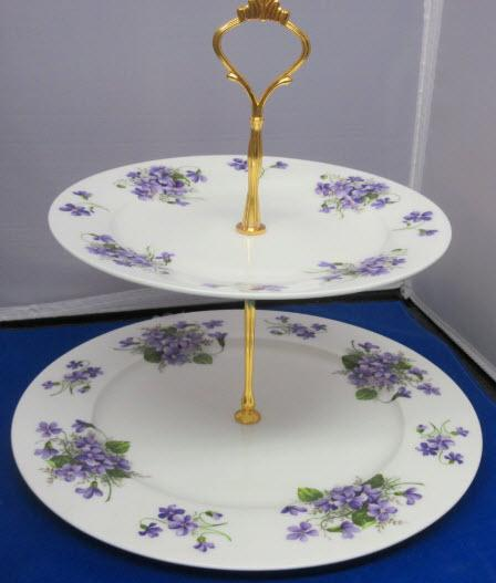 2 Tier Purple Wild Violets English Bone China Cake Stand Made in England-Roses And Teacups